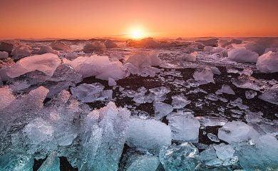 Iceland shoreline during sunset