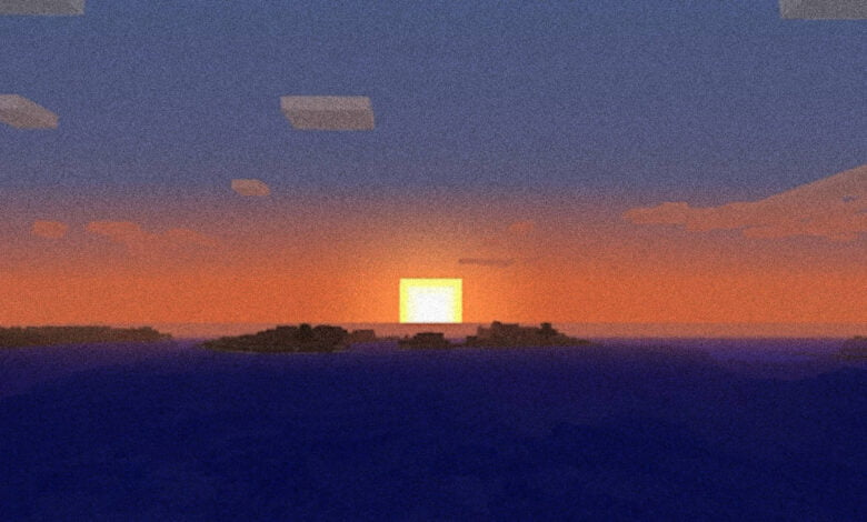 The sun sets in Minecraft