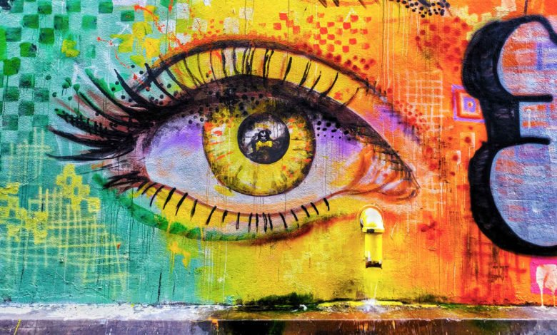 a wall painting of a person's eye