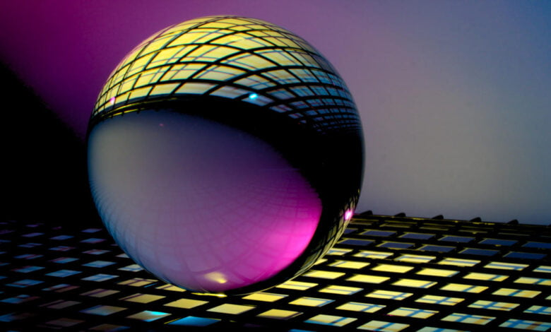 A floating sphere over a grid