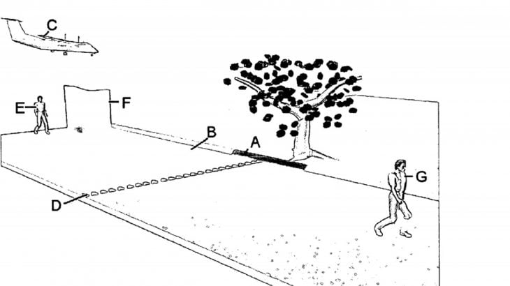 A drawing of a man walking past a tree
