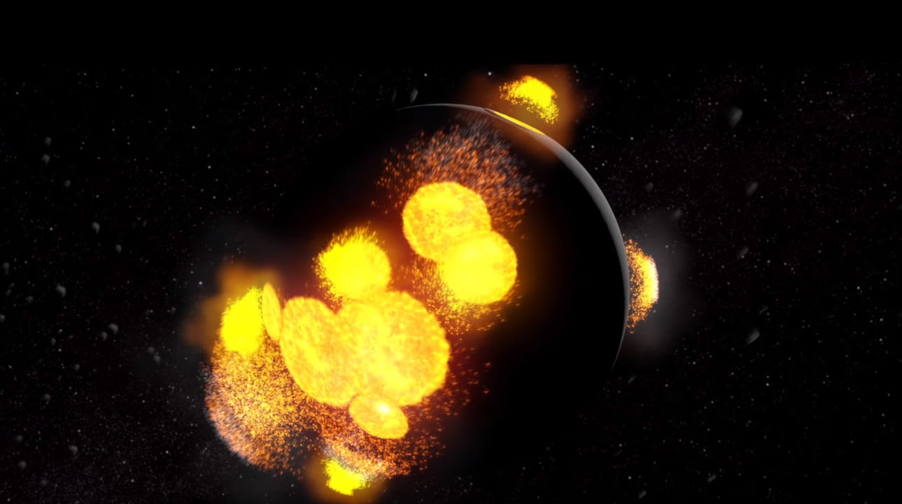Collisions with the moon, which look like massive yellow explosions