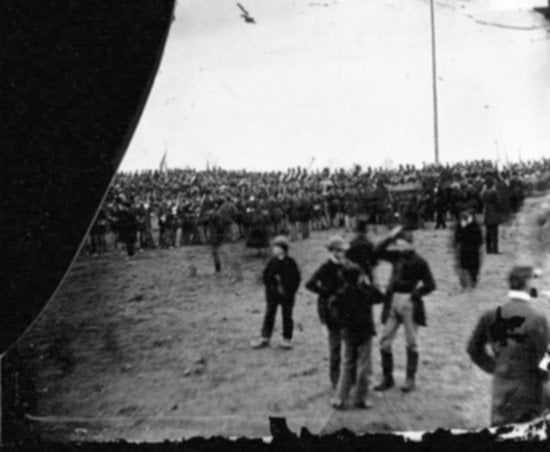 Andrew Basiago allegedly stands among the crowd before the Gettysburg Address