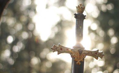 a sword with a golden hilt