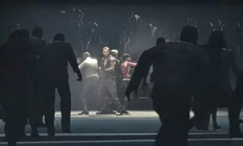 Zombies surround a group of soon-to-be zombies