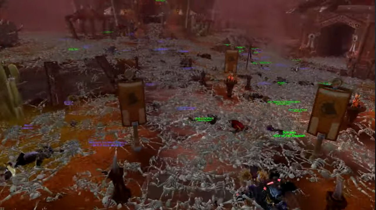 Skeletons litter Orgrimmar in World of Warcraft