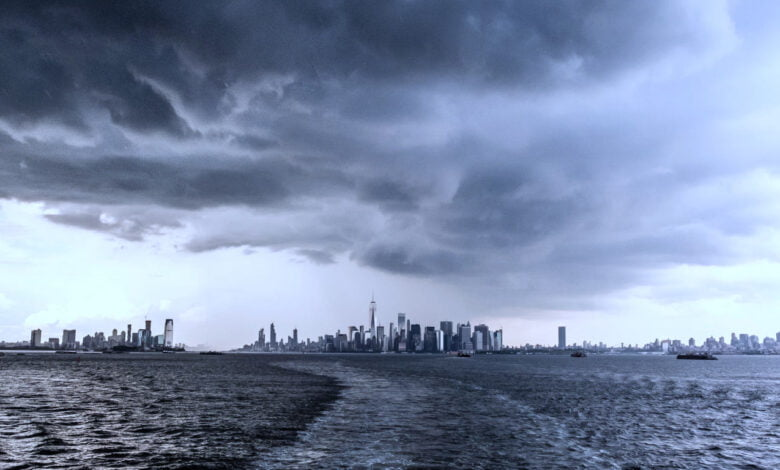 Ominous clouds gather over a city