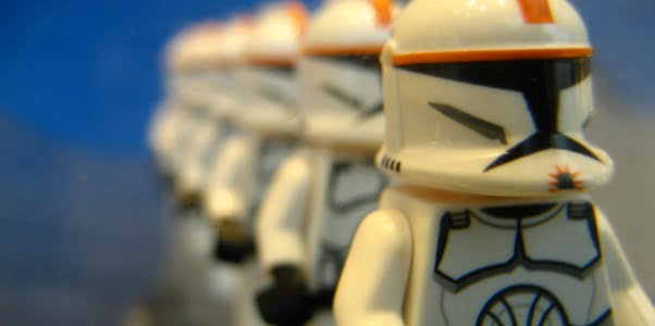 A row of LEGO clone troopers from Star Wars