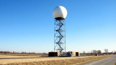 A weather radar tower