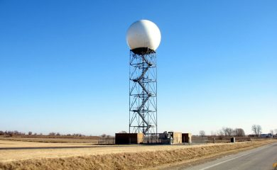 A weather radar tower