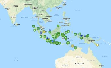 A map of Indonesia featuring highlighted UFO sightings