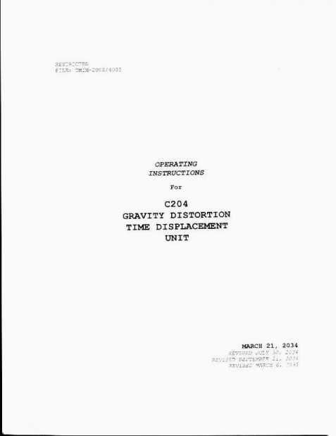 John Titor - C204 Operating Instructions