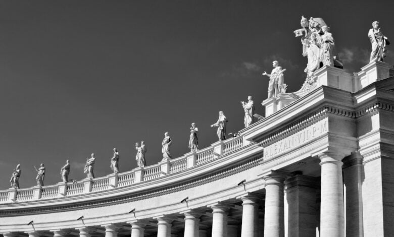 Pillars and statues at the Vatican
