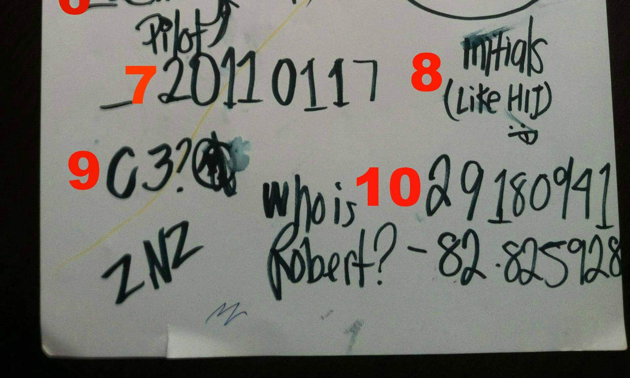 Strange messages scribbled on a white board