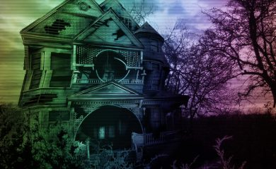 An old dilapidated haunted house
