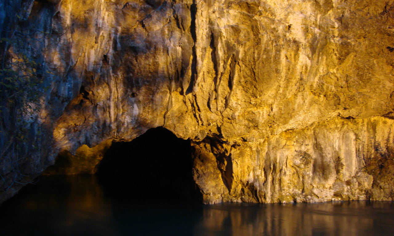 The watery entrance to a cave