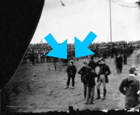 Andrew Basiago claims to be the young boy in oversized shoes in this photo taken during the Gettysburg Address