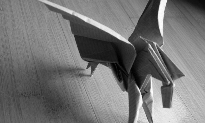 A papercraft pegasus
