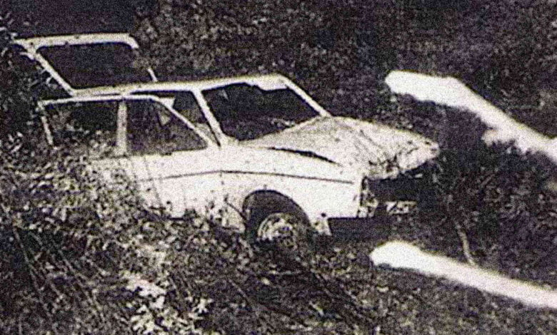 A black-and-white picture of Gunther Stoll's car