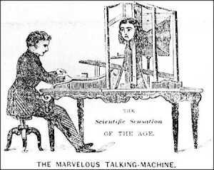 An artist's representation of the talking machine