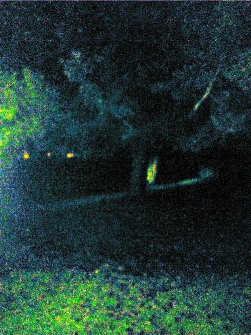 "Image: Worsley Paranormal Group ""We captured this after I saw what looked like a greyish mist moving behind the tree.. Something is showing an energy .."""