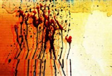 Blood trickles down a wall