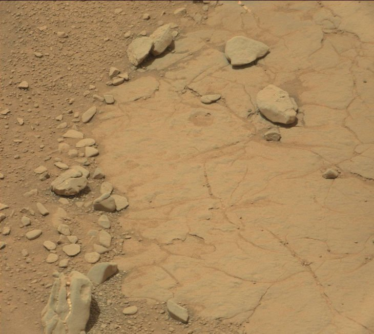 An image taken by NASA's Curiosity rover of the surface of mars,