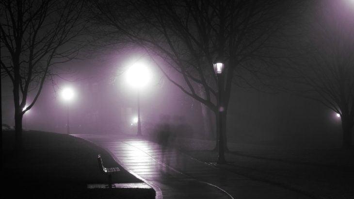 A shadow walks on a dimly lit road
