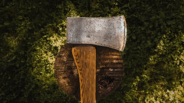 An axe placed upon a chopped tree stump