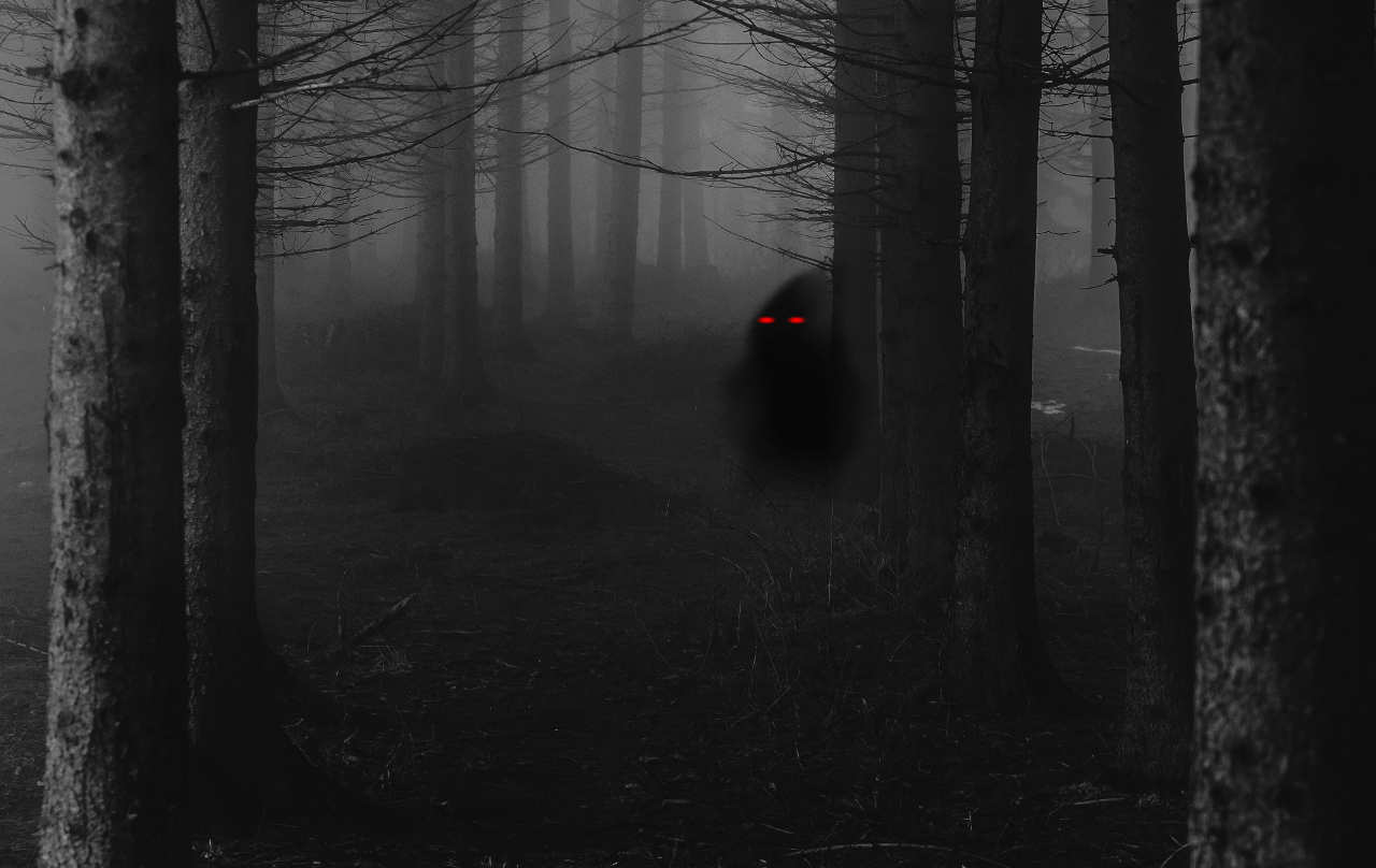 A shadow with glowing eyes in the forest