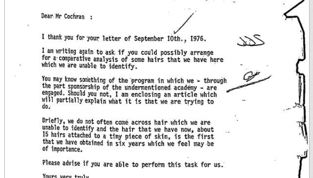 Screenshot of FBI Bigfoot Documents
