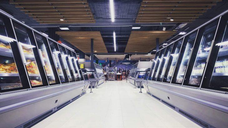 The frozen aisle of a supermarket
