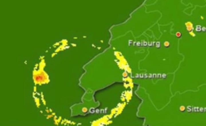 An alleged ring portal visible over Geneva on radar
