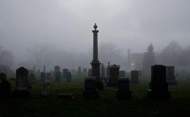 A cemetery shrouded in fog