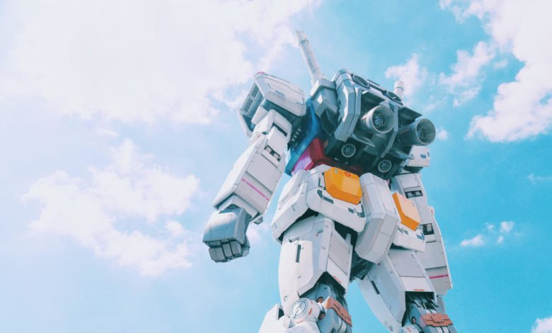 The back of a Gundam looking up toward the sky