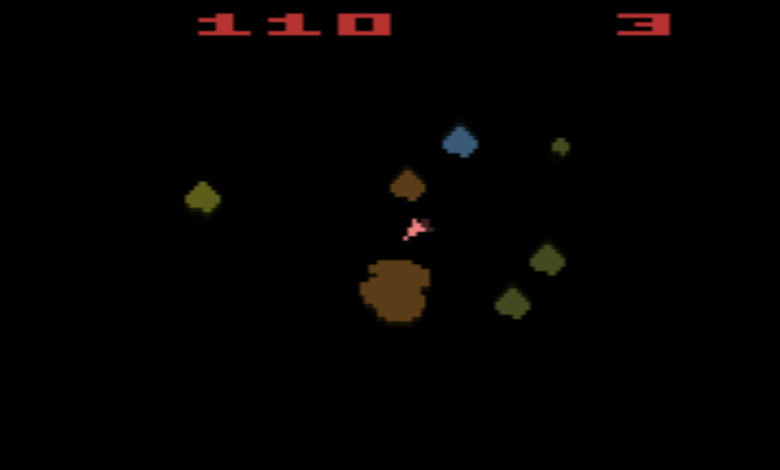 A screenshot of the game Asteroids on the Atari 2600 video game console