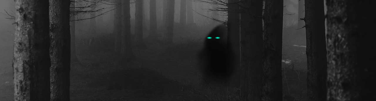 A shadowy figure with glowing eyes looks back from within a forest