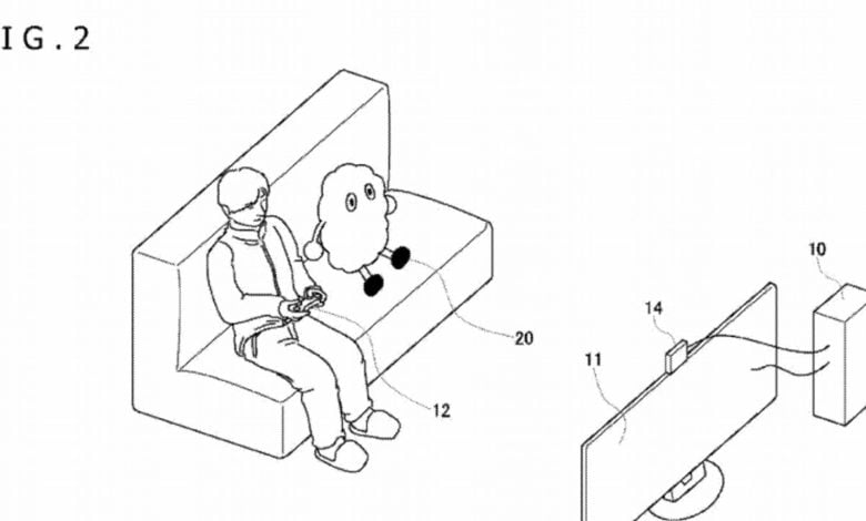 Drawing of fluffy robot sitting next to man on couch playing video games in front of a TV