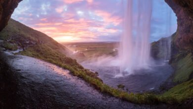 A colorful waterfall in Iceland