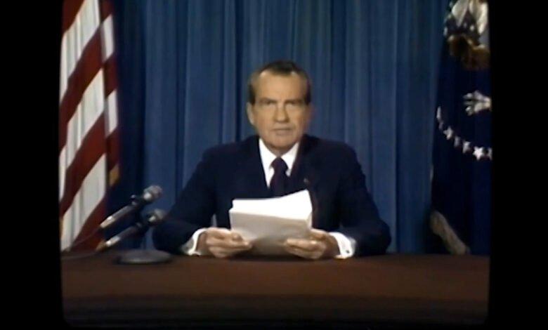 Screencap of deepfaked RIchard Nixon giving his speech
