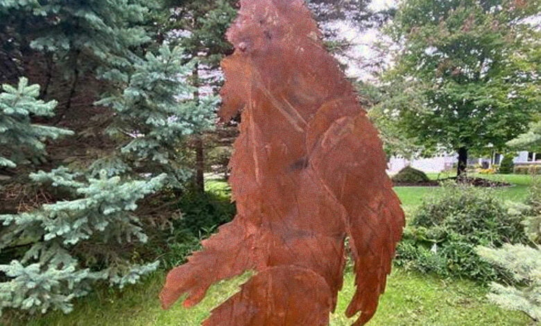 An 8-foot-tall sheet metal Bigfoot