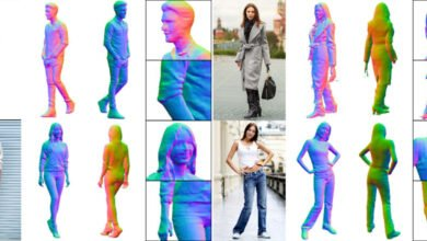 Examples of 2D photos of people turned into 3D models
