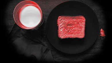A perfectly ordinary slice of toast and a glass of milk