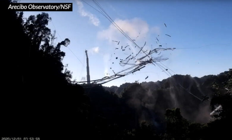 The platform falls at the Arecibo Observatory