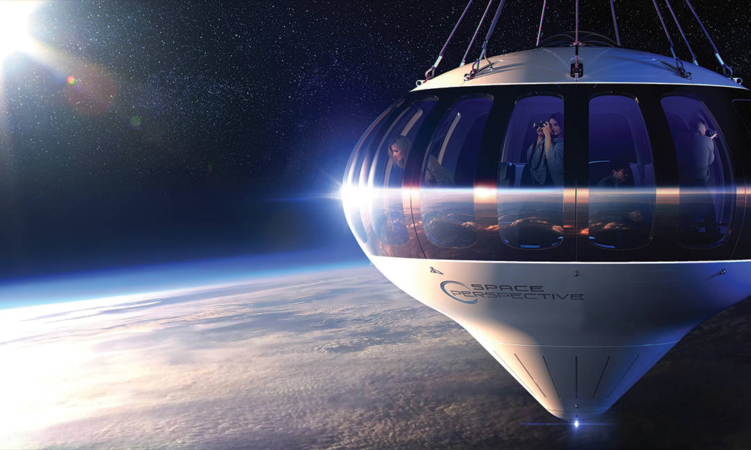 Artist's rendering of passengers aboard space balloon