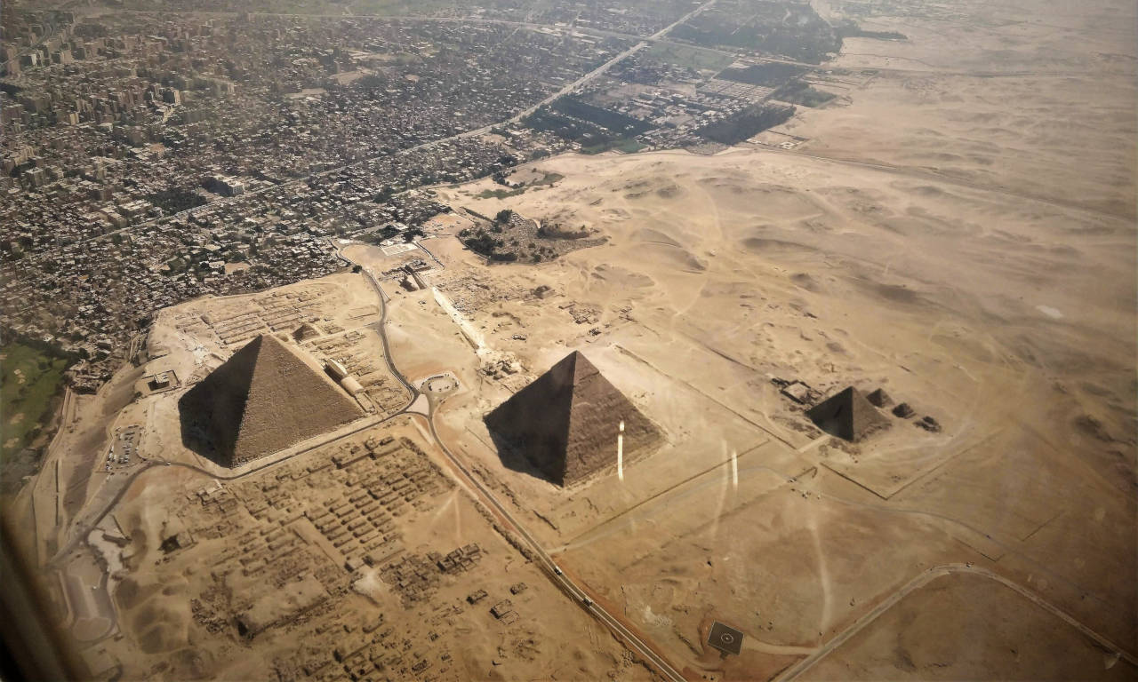 A view of the Egyptian pyramids from the air