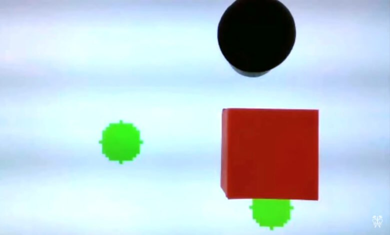 Graphical representation of actor bot and two green circles with obstacle