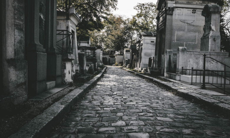 A path at an old French cemetery