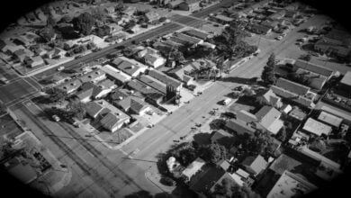A bird's-eye view of a town