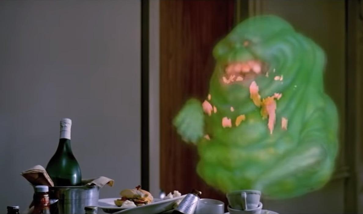 Slimer eats some food at the Sedgewick Hotel circa 1984